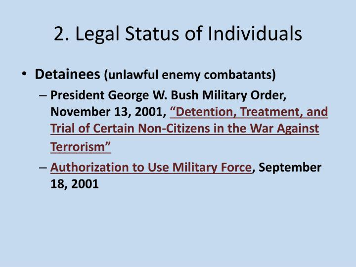 2. Legal Status of Individuals