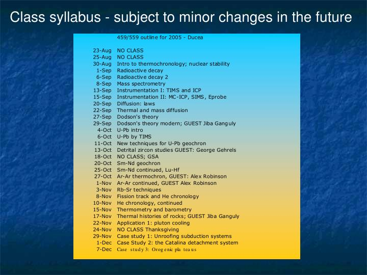 Class syllabus - subject to minor changes in the future