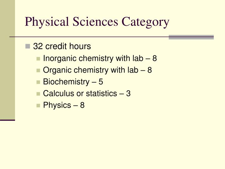 Physical Sciences Category