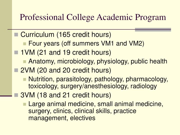 Professional College Academic Program