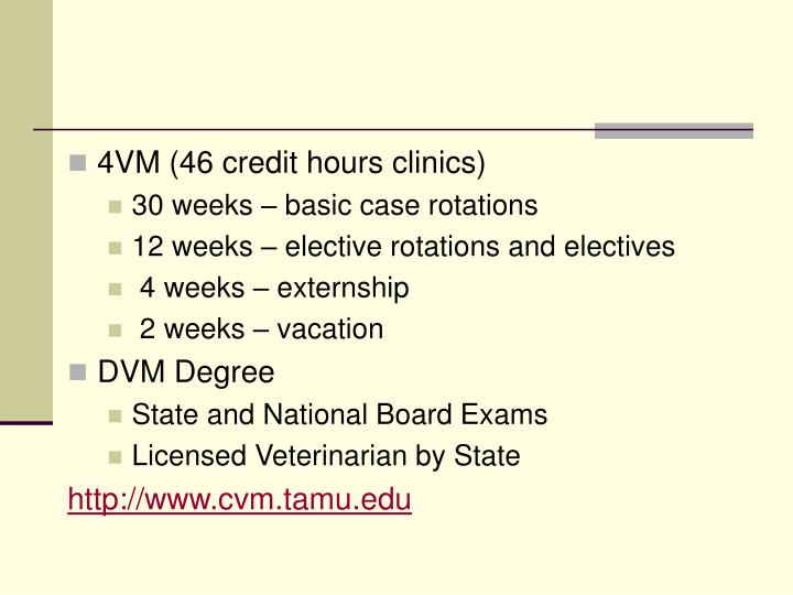 4VM (46 credit hours clinics)
