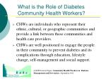 what is the role of diabetes community health workers