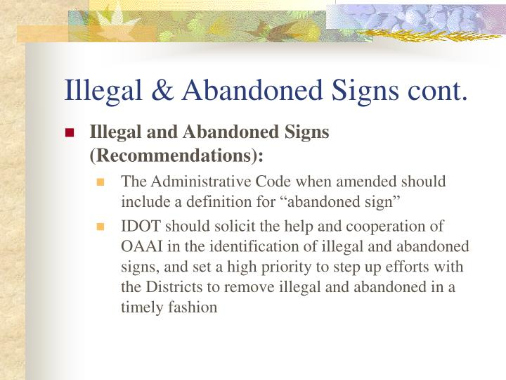 Illegal & Abandoned Signs cont.