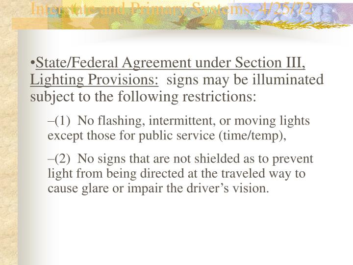 Illinois/FHWA Agreement to Control Outdoor Advertising Adjacent to Interstate and Primary Systems, 4/25/72