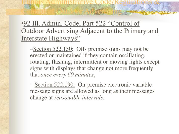 Illinois Administrative Code/Regulations & Control of Outdoor Advertising