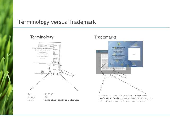 Terminology versus Trademark