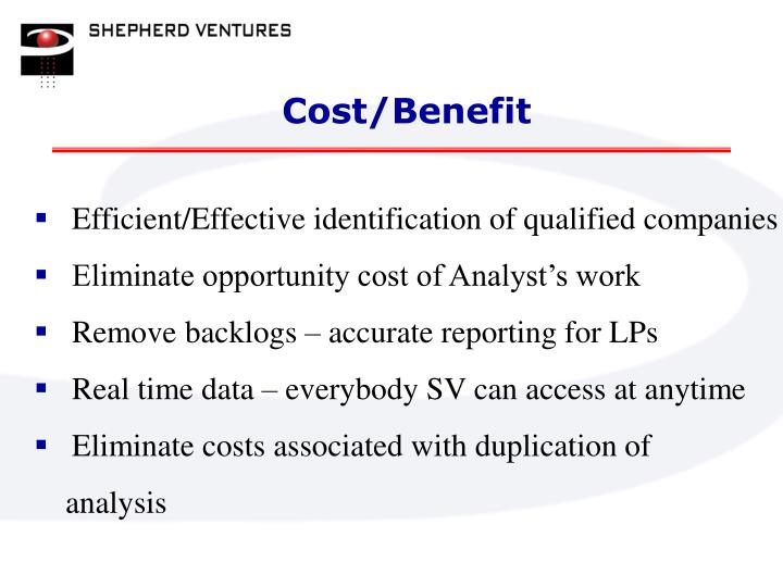 Cost/Benefit