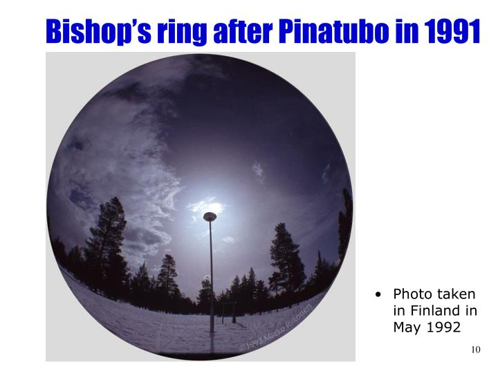 Bishop's ring after Pinatubo in 1991