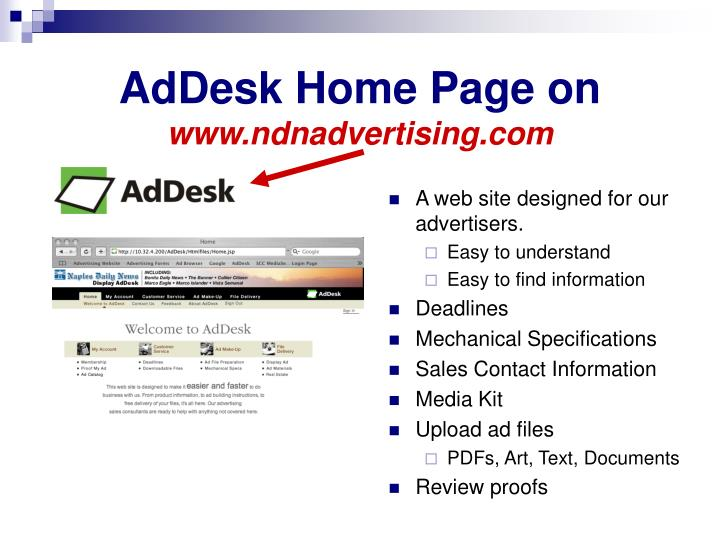 AdDesk Home Page on