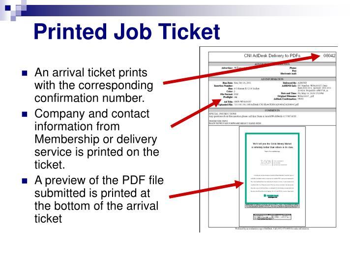 Printed Job Ticket