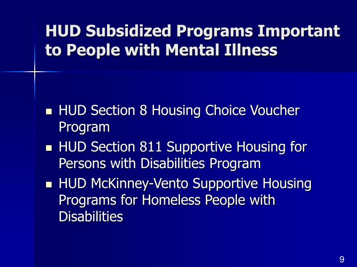 HUD Subsidized Programs Important to People with Mental Illness