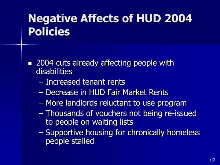 Negative Affects of HUD 2004 Policies