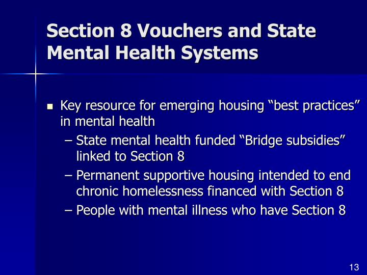 Section 8 Vouchers and State Mental Health Systems