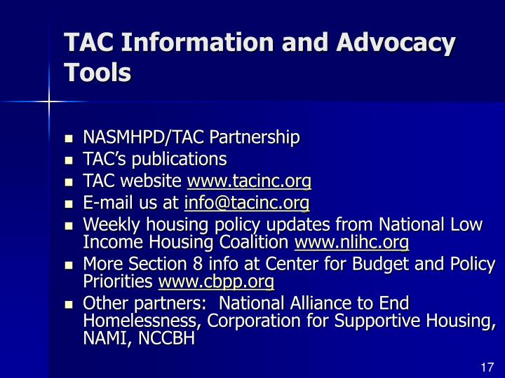 TAC Information and Advocacy Tools
