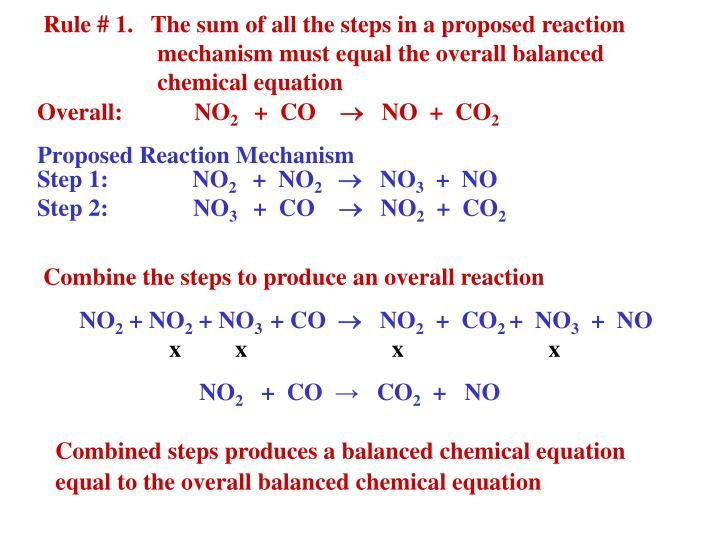 Rule # 1.   The sum of all the steps in a proposed reaction