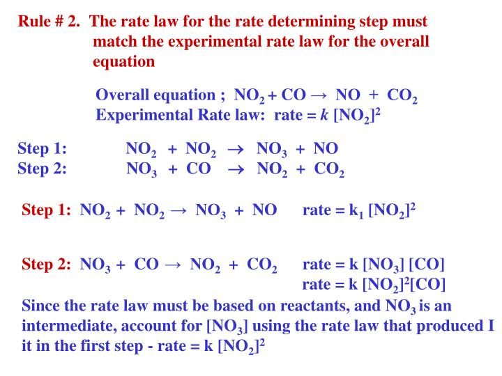 Rule # 2.  The rate law for the rate determining step must