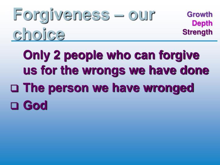Forgiveness – our choice