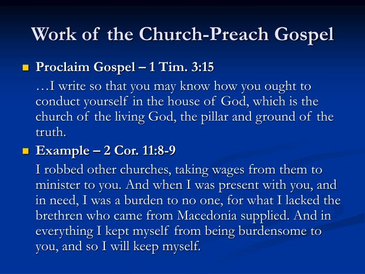Work of the Church-Preach Gospel