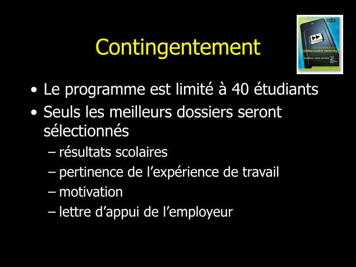 Contingentement