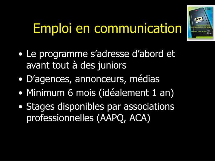 Emploi en communication