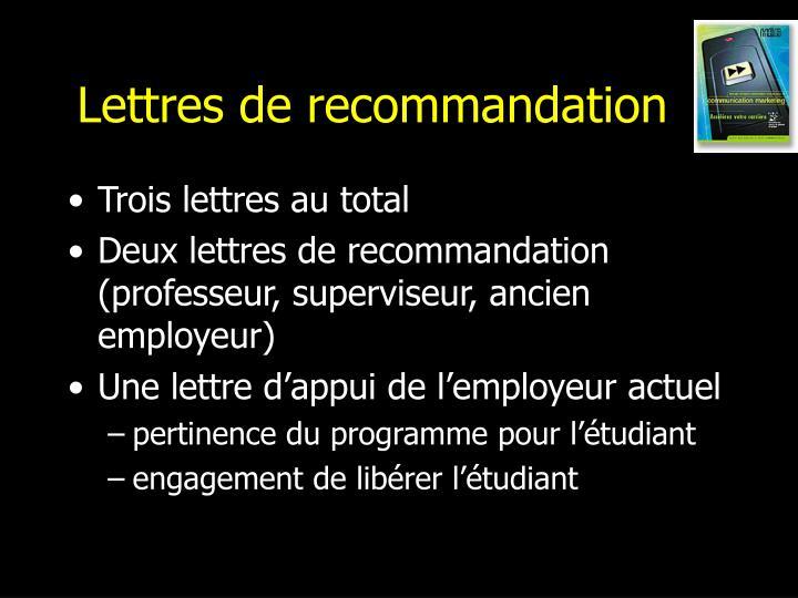 Lettres de recommandation