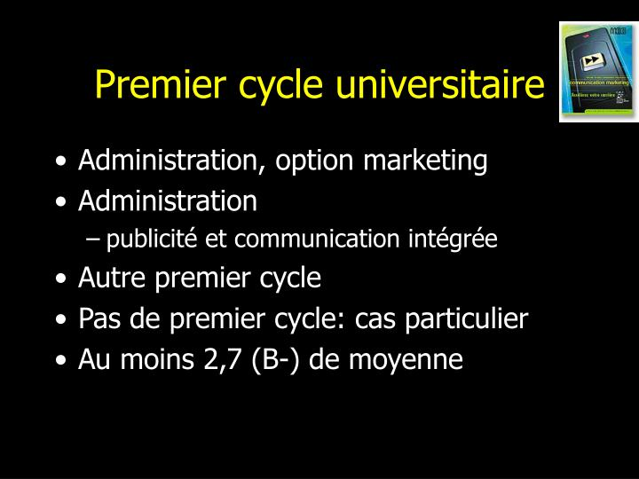 Premier cycle universitaire