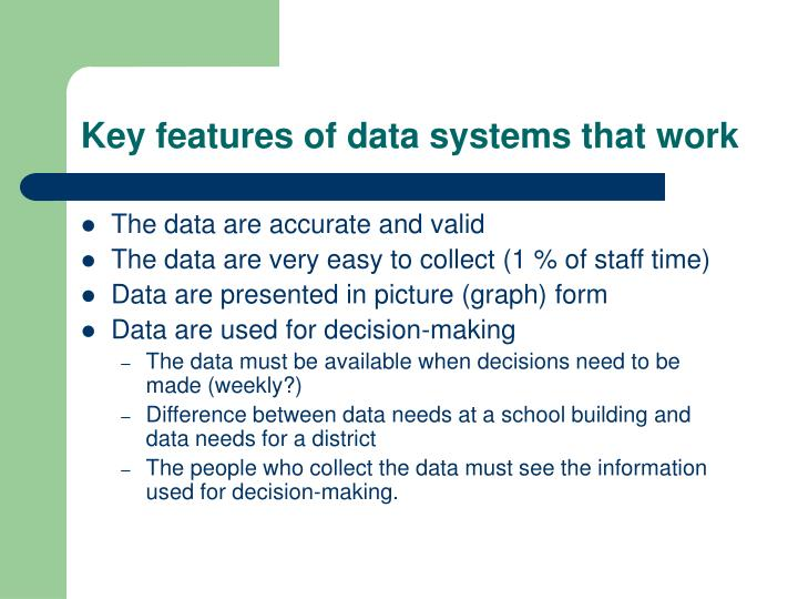 Key features of data systems that work
