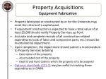property acquisitions equipment fabrication