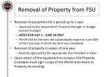removal of property from fsu1
