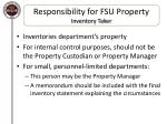 responsibility for fsu property inventory taker