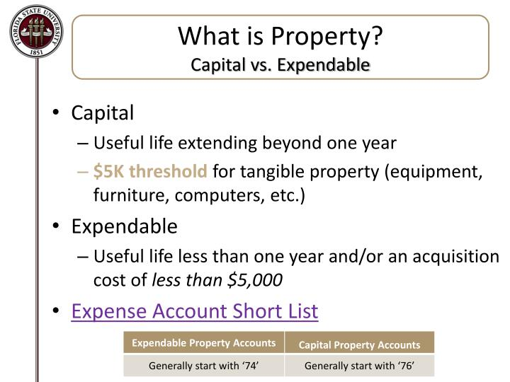What is property capital vs expendable
