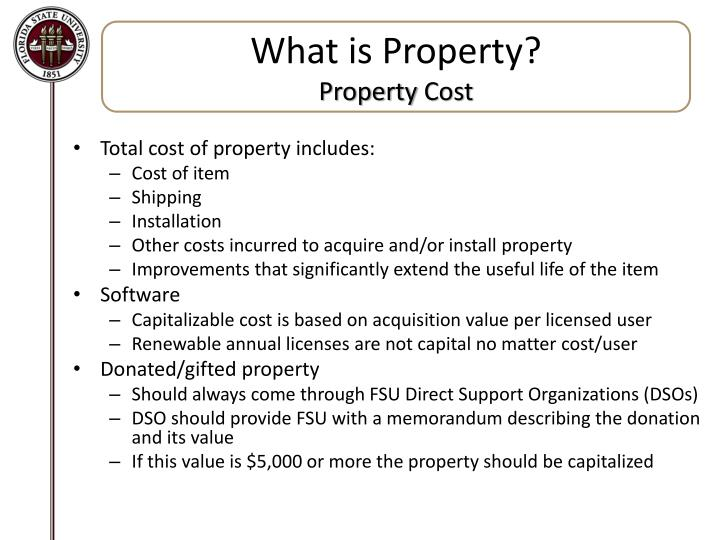What is property property cost