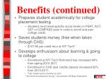 benefits continued