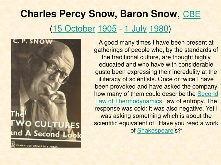 Charles percy snow baron snow cbe 15 october 1905 1 july 1980
