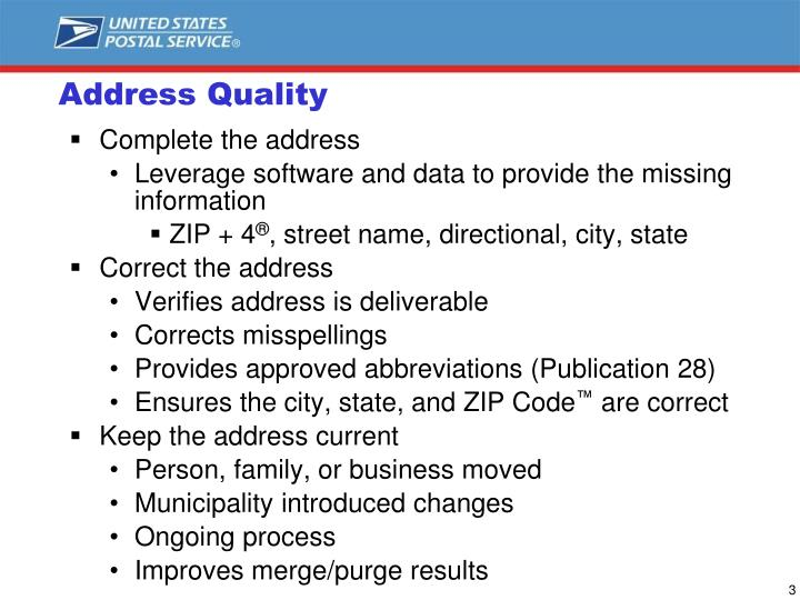 Address quality
