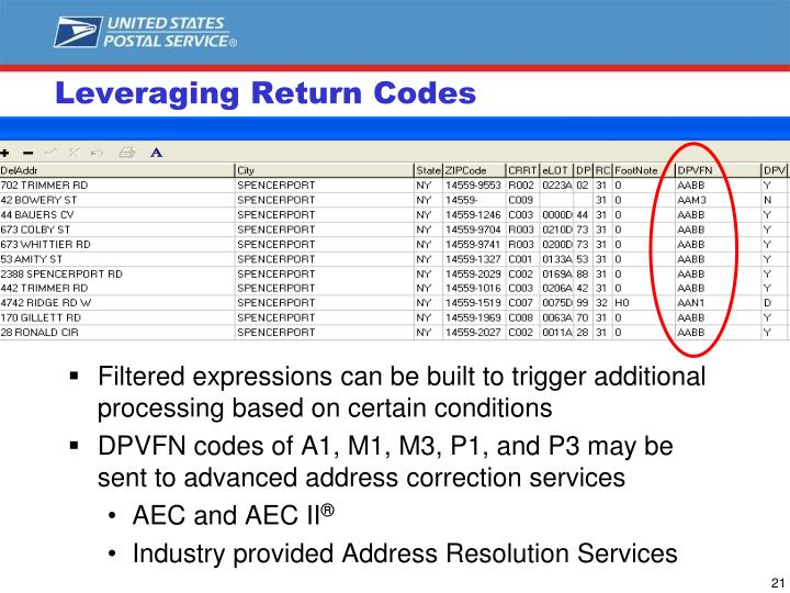 Leveraging Return Codes