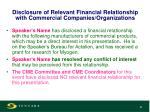 disclosure of relevant financial relationship with commercial companies organizations