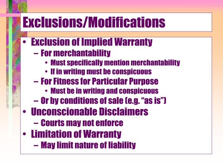 Exclusions/Modifications