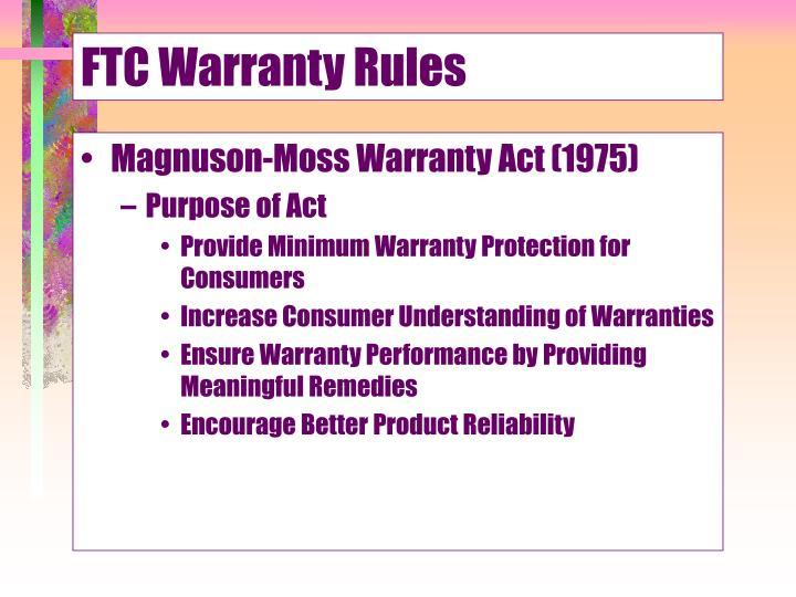 FTC Warranty Rules
