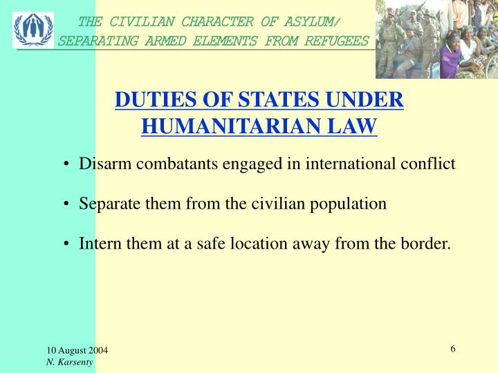 DUTIES OF STATES UNDER HUMANITARIAN LAW