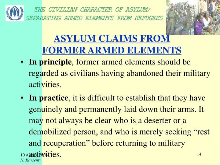 ASYLUM CLAIMS FROM
