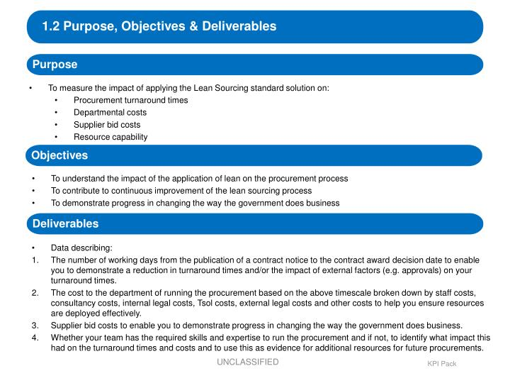 1.2 Purpose, Objectives & Deliverables