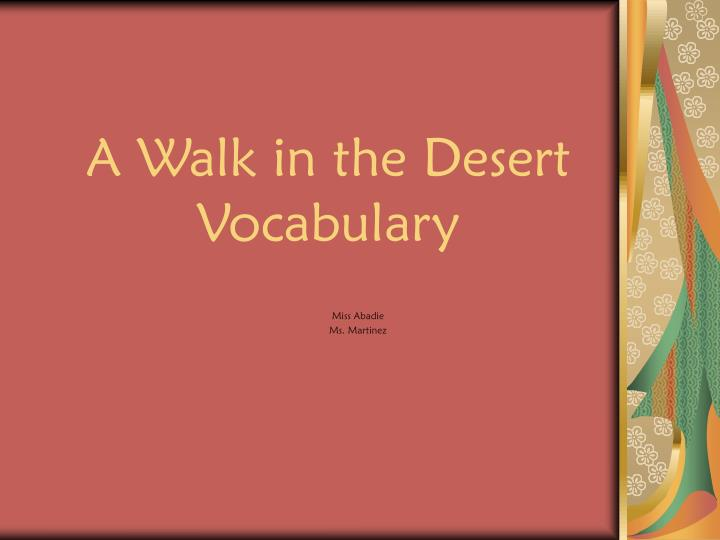 A walk in the desert vocabulary