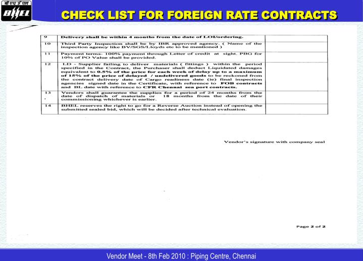 CHECK LIST FOR FOREIGN RATE CONTRACTS