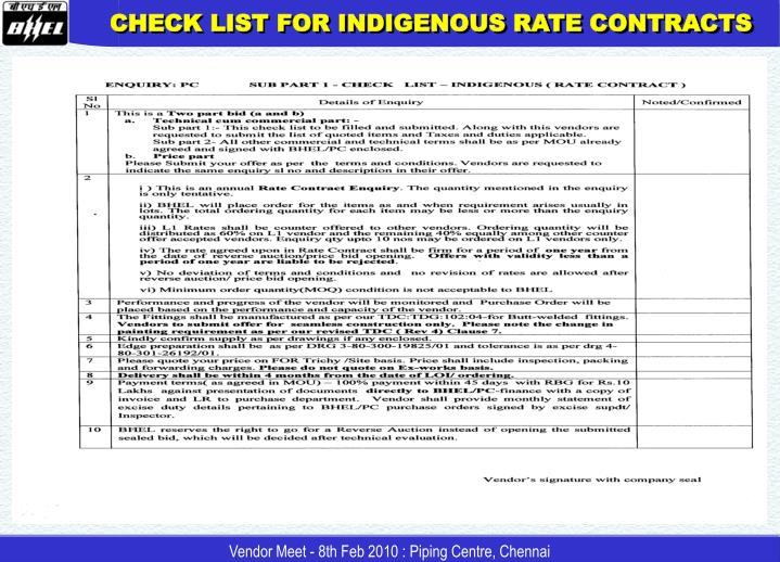CHECK LIST FOR INDIGENOUS RATE CONTRACTS