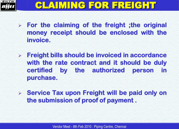 CLAIMING FOR FREIGHT