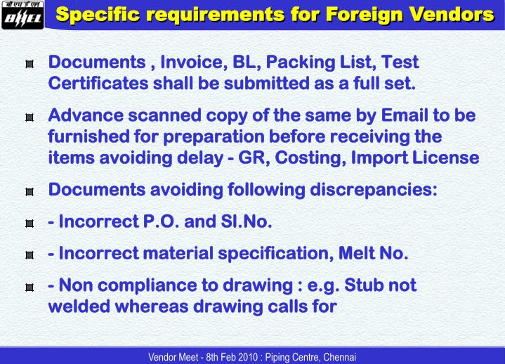 Specific requirements for Foreign Vendors