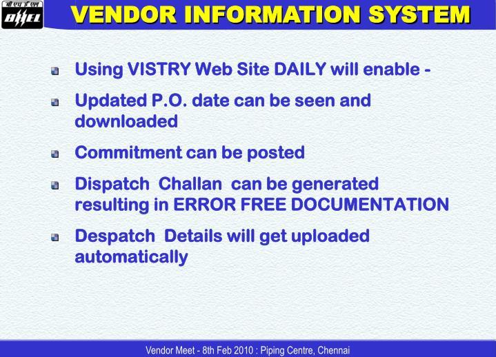 VENDOR INFORMATION SYSTEM