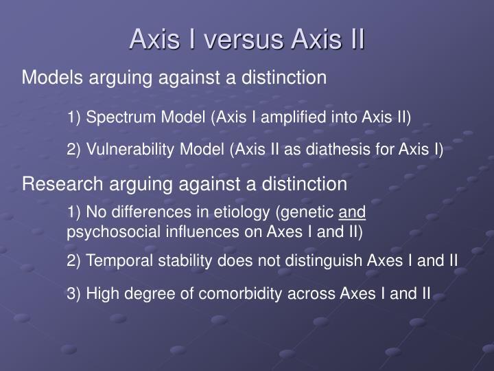 Axis I versus Axis II