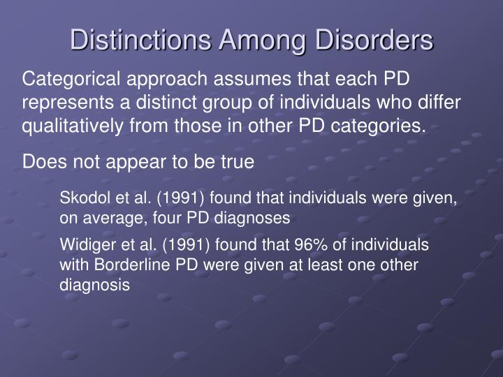Distinctions Among Disorders